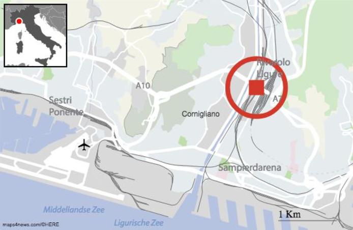Een aanzienlijk deel van een brug van een autosnelweg bij Genua is ingestort. De Morandi-brug over de rivier de Polcevera is ten westen van de Italiaanse havenstad.