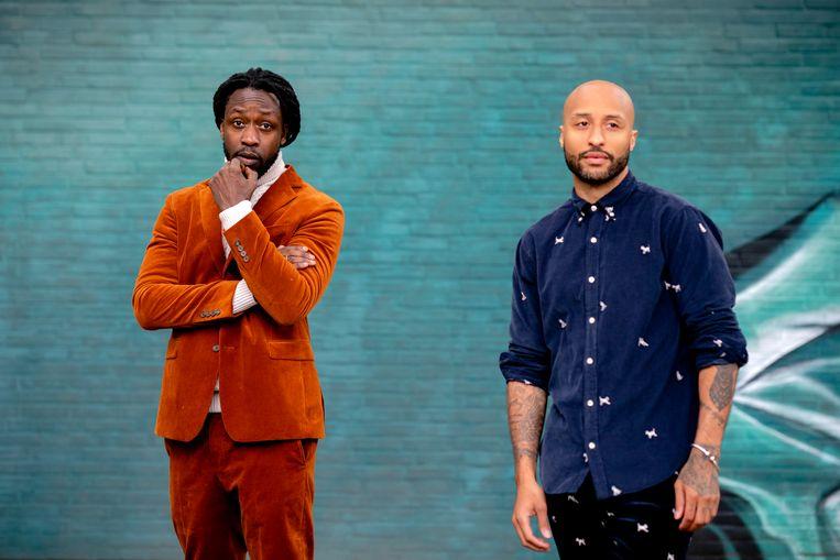 Initiatiefnemers Akwasi en Gianni Grot van de nieuwe Omroep Zwart. Beeld ANP