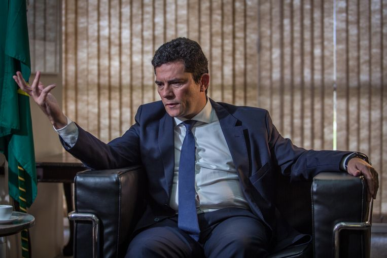Sérgio Moro geeft in april 2020 een interview in zijn hoedanigheid van minister van Justitie in de regering van president Jair Bolsonaro.  Beeld Andre Coelho / Getty Images
