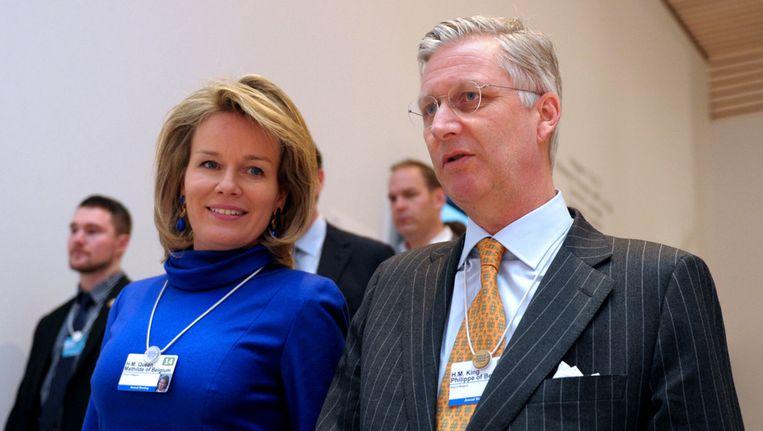 Koning Filip en koningin Mathilde, vandaag in Davos. Beeld AFP