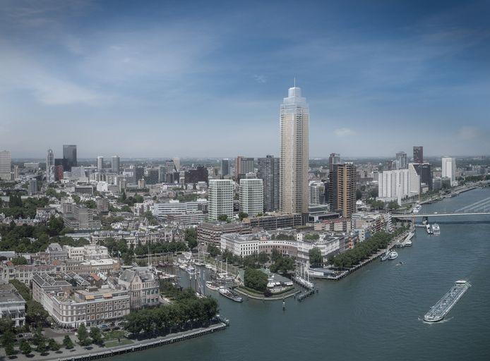 Impressie van het project Zalmhaven met de 215 meter hoge woontoren.