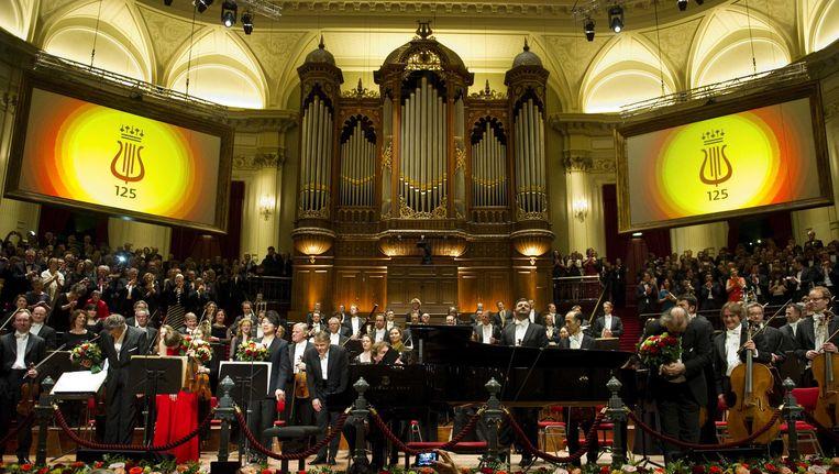 Het Concertgebouworkest tijdens een eerder jubileumconcert in april. Beeld ANP