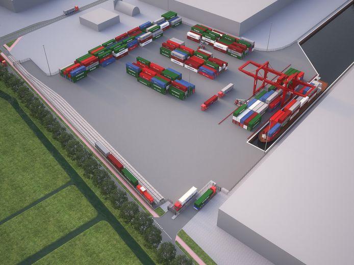 Bovenaanzicht van de containerterminal met spoor- en waterverbinding op Loven (impressie).