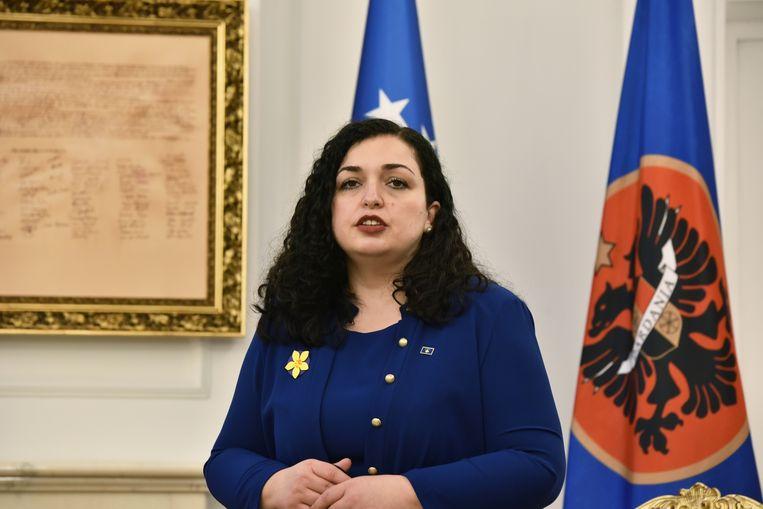 Vjosa Osmani in haar kantoor. Beeld REUTERS