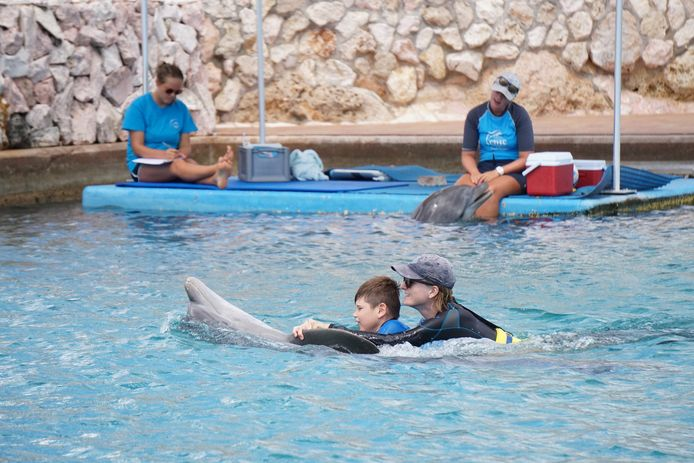 Morris (9) in actie bij de dolfijntherapie op Curacao.