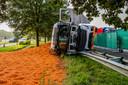 Een vrachtwagen is dinsdagochtend omstreeks 06.30 uur gekanteld op de A58 ter hoogte van Bavel.