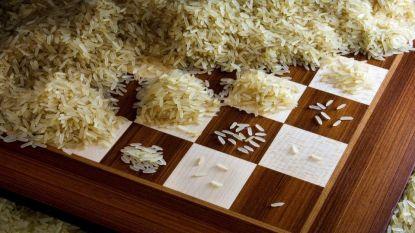 De kracht van de exponentiële curve: van één naar meer dan 18 triljoen rijstkorrels op schaakbord