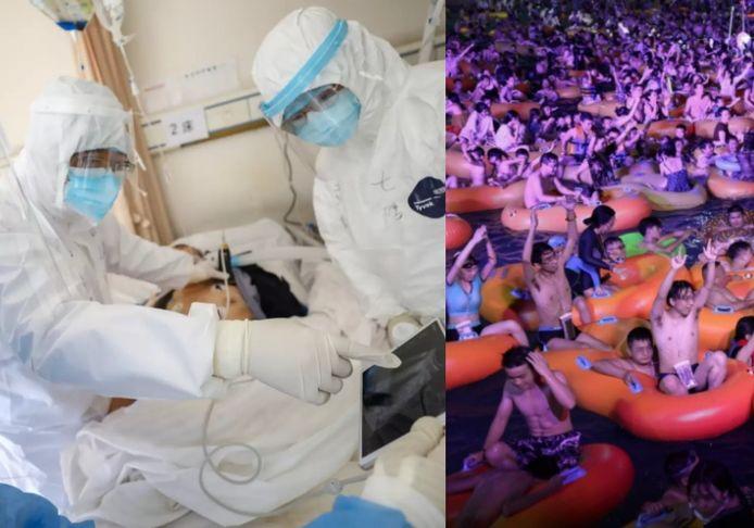 À gauche: une photo des hôpitaux surpeuplés de Wuhan. À droite: la libération totale, après qu'aucune infection ne soit apparue depuis la mi-mai.