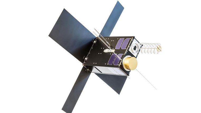 Een microsatelliet van Hiber heeft de grootte van een tweeliterpak melk en weegt zo'n acht kilo. Elke satelliet kan zo'n miljoen apparaten volgen Beeld Hiber