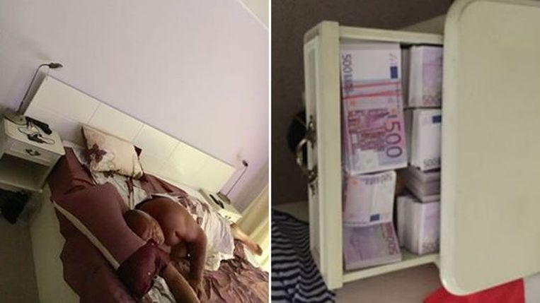 Op uitlekte foto's is premier Borissov te zien met op zijn nachtkastje een pistool, baren goud en stapels bankbiljetten. Beeld rv