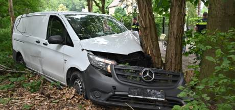 Pakketbezorger rijdt met bus tegen boom in Etten-Leur, blikschade is groot
