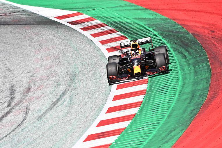 Max Verstappen op het circuit in Oostenrijk.  Beeld AFP