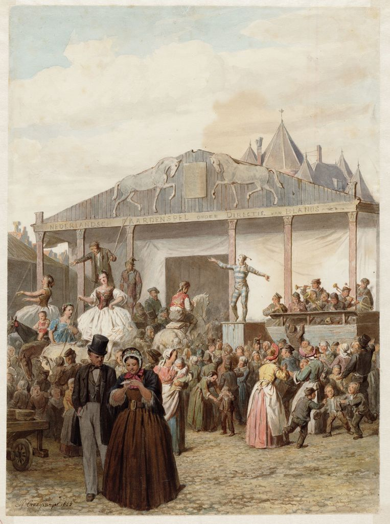 Kermis op de Nieuwmarkt (1867) op een tekening van Reinier Craeyvanger. Beeld Stadsarchief