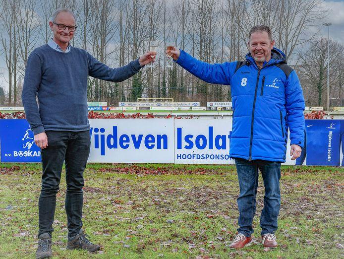Boskant-voorzitter Huub van der Zanden (links) met de nieuwe hoofdtrainer van de club Peter van der Heijden.