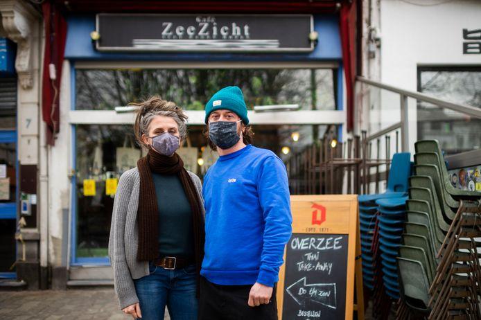 Café Zeezicht in Berchem: eigenaars Babs Cossaer en David Joris.