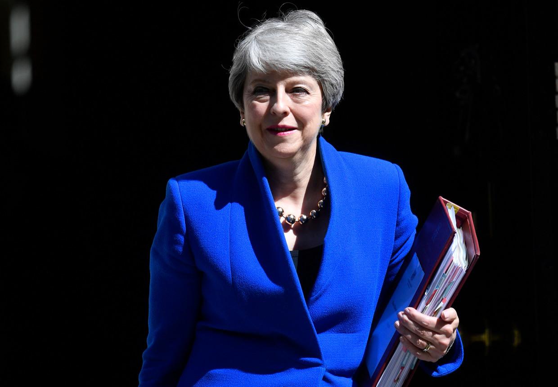 Theresa May op haar laatste dag als premier.   Beeld EPA