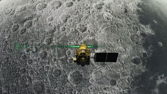 Op een hoogte van 2,1 kilometer boven het maanoppervlak werd het contact met maanverkenner Chandrayaan-2 (foto) verbroken.