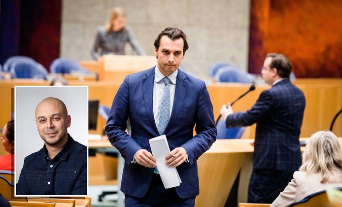 """GroenLinks-raadslid Youssef el Messaoudi (inzet) doet aangifte tegen Thierry Baudet. ,,Het raakt mij persoonlijk dat deze man een hele bevolkingsgroep wegzet als kwaadaardig."""""""