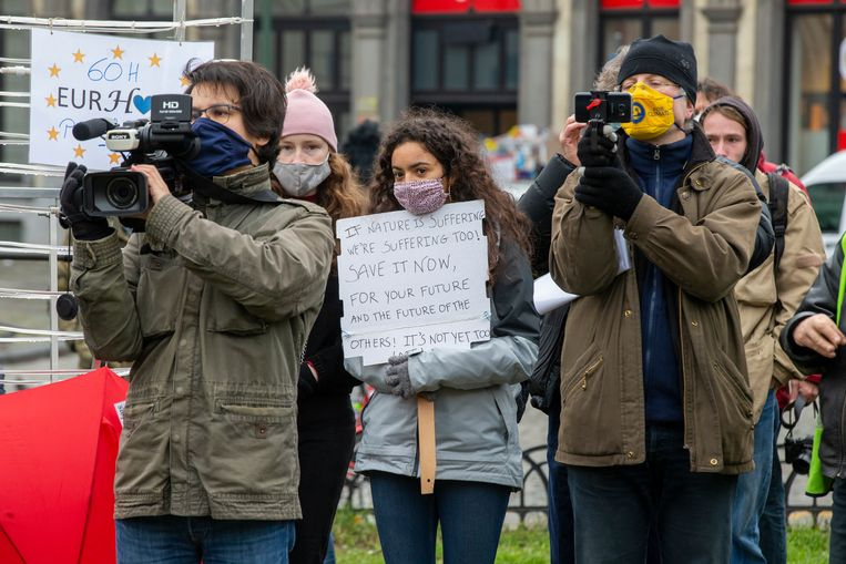 Een demonstratie van Rise for Climate Belgium, zondag 24 januari 2021 Beeld BELGA
