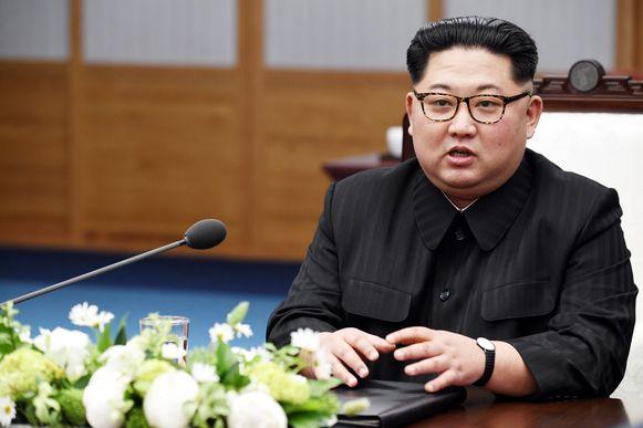 Kim Jong-un tijdens de Koreaanse top vorige week.