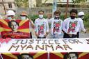 Demonstranten uit Myanmar protesteren tegen de staatsgreep van het leger.