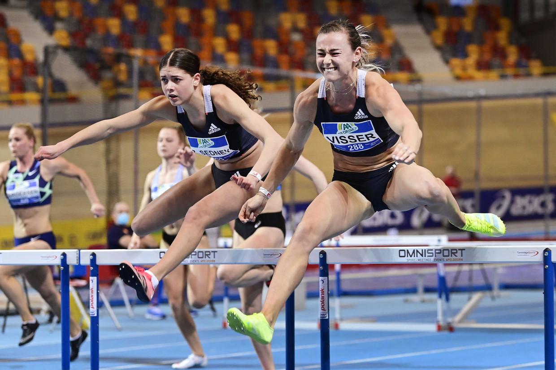 Nadine Visser wint de 60m horden tijdens de Nederlandse kampioenschappen (NK) atletiek. Beeld ANP