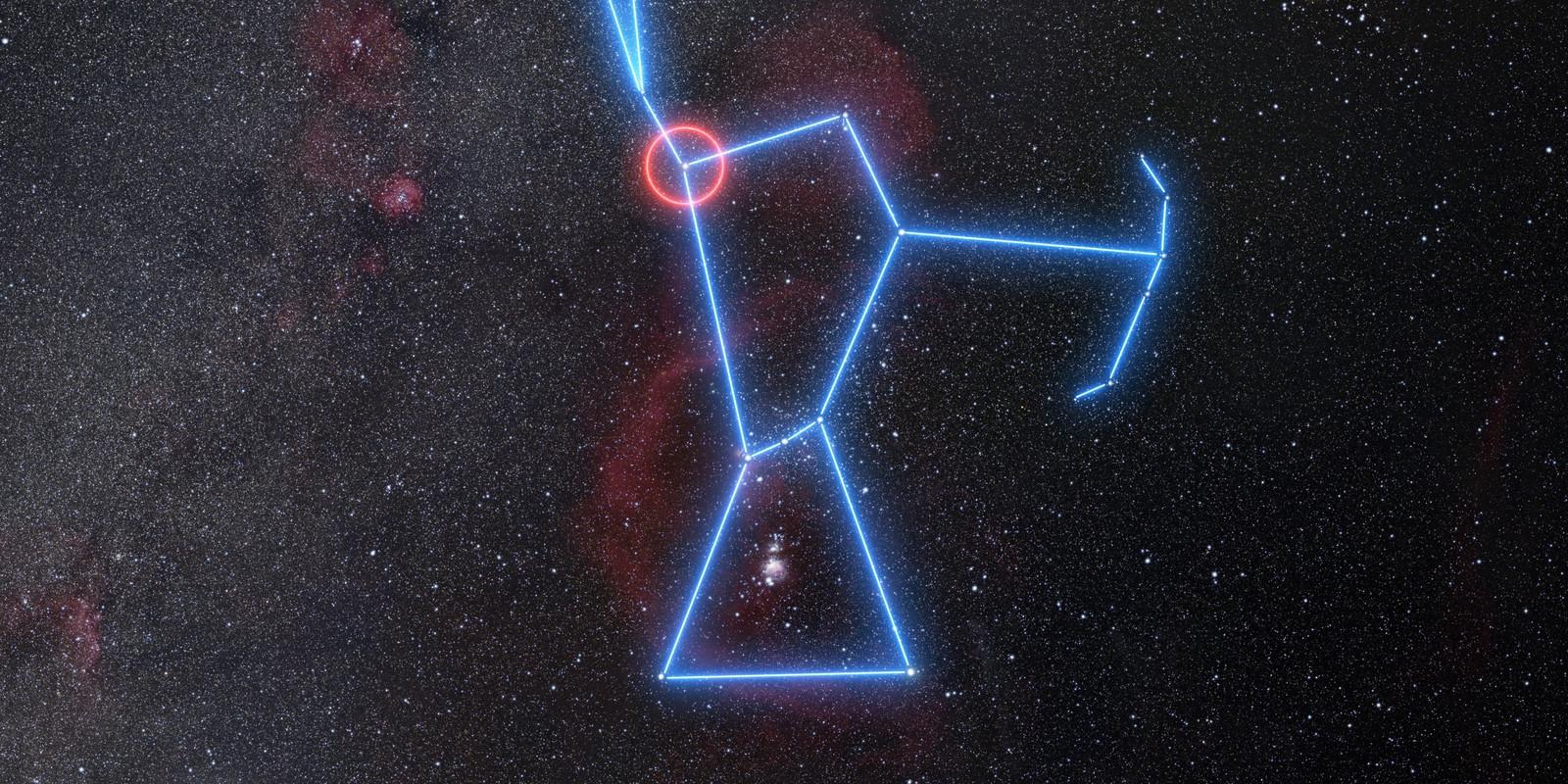 De positie van Betelgeuze in het sterrenbeeld Orion.