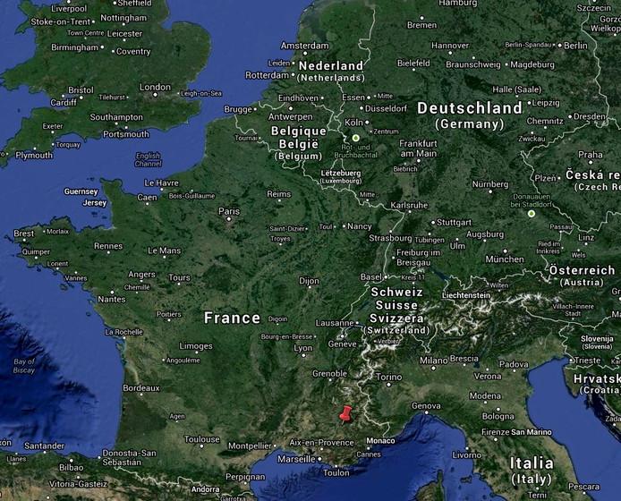 Bij de rode prikker ligt Digne-les-Bains. Screenshot Google Maps