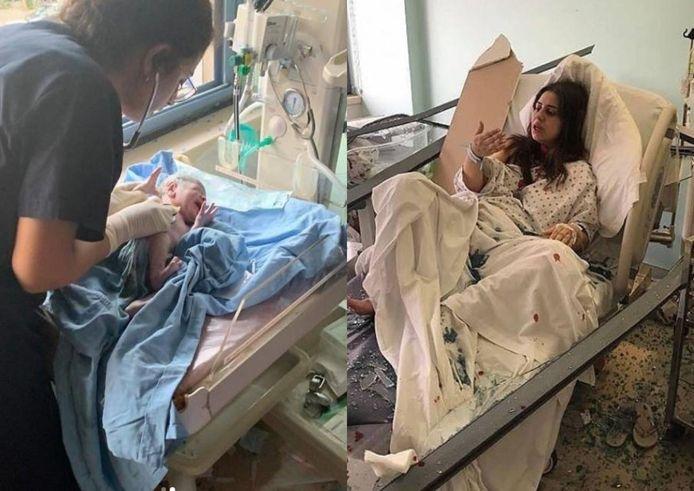 """Les images de cet accouchement dans des conditions extrêmes ont été partagées par le compte """"Long Live Lebanon""""."""