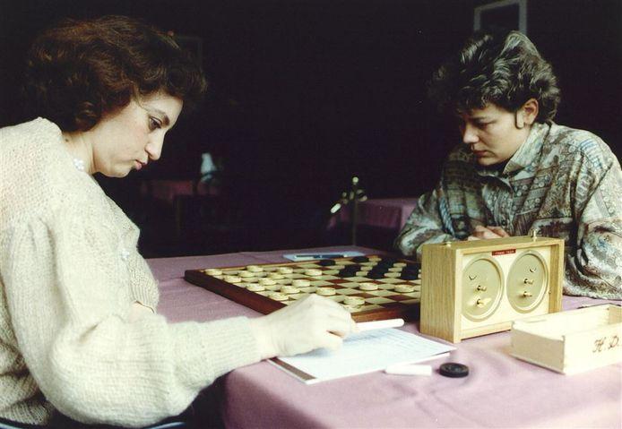 Damster Karen van Lith (r) tijdens de herkamp tegen de Russische Nina Jankovskaja (l) in 1992.