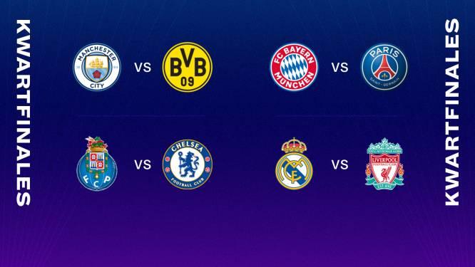 Bayern-PSG absolute kraker in CL-kwartfinales, Real ontmoet Liverpool en Manchester City treft Dortmund
