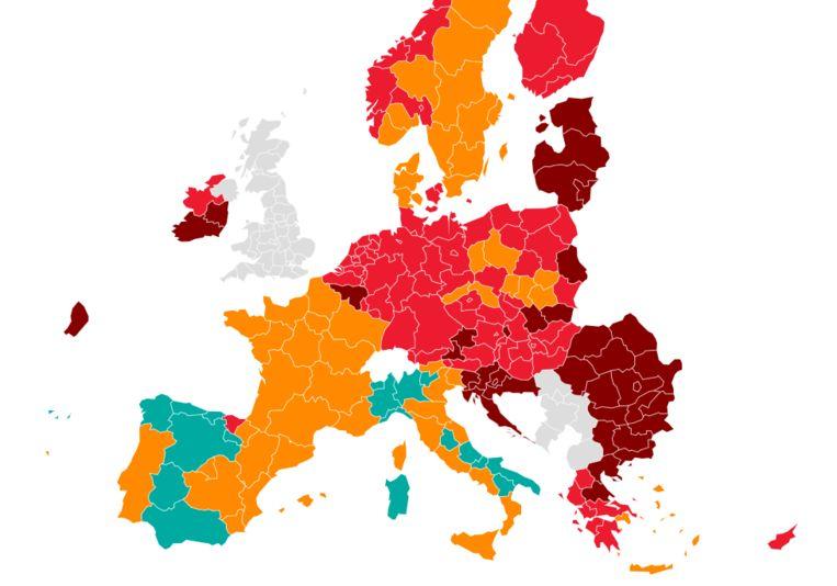 Situatie op 28 oktober: Europa kleurt weer rood. Beeld DM