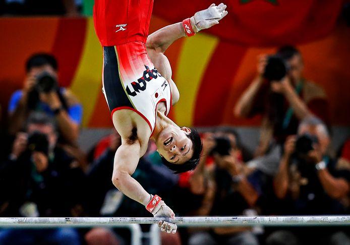 Kohei Uchimura tijdens de Spelen in Rio in 2016.