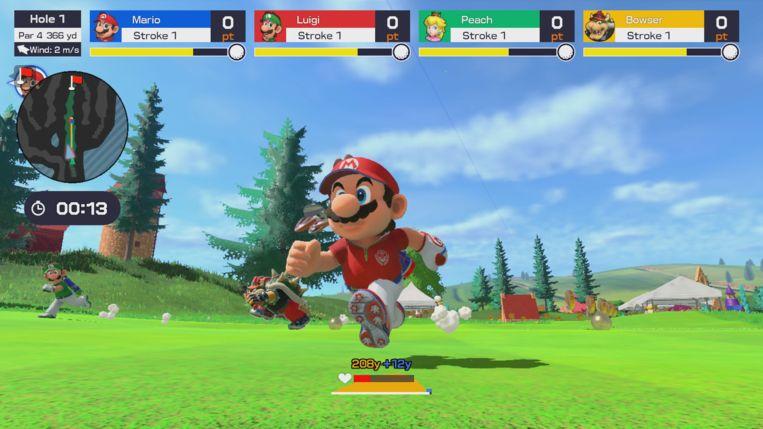 'Speed golf' is het opmerkelijkste onderdeel in Mario Golf: Super Rush. Beeld Nintendo