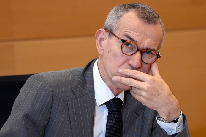 BRUSSELS, BELGIUM - JANUARY 12 :  Frank Vandenbroucke ( Minister of Health ) pictured in videoconference via ZOOM during the Health Commission  January 12, 2021 in Brussels, Belgium, 12/01/2021 ( Photo by Didier Lebrun / Photonews