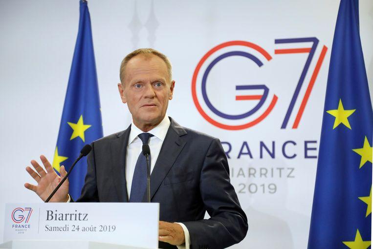 EU-president Donald Tusk op de G7-top in Biarritz.