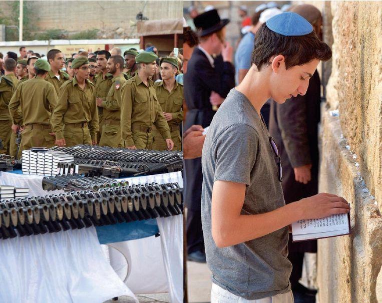 Aan de Klaagmuur liggen geweren en bijbels zij aan zij. Beeld Geert De Weyer en Steven Vandeleene