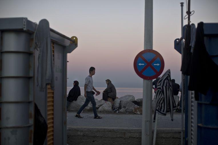 Vluchtelingen op Lesbos Beeld ap