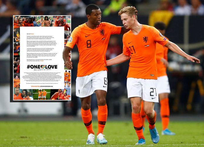 Georginio Wijnaldum en Frenkie de Jong. Inzet: de open brief van de KNVB.