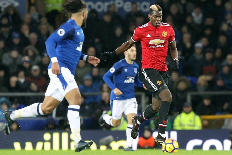 Paul Pogba won maandag met Man Utd op Everton met 0-2.