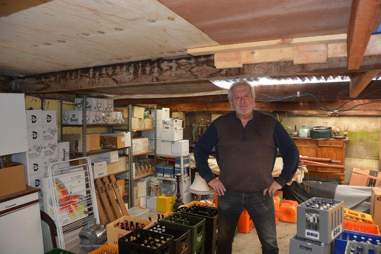 Uitbater Ivo De Maeyer is blij dat het bijgebouw er überhaupt nog staat na de zware storm.