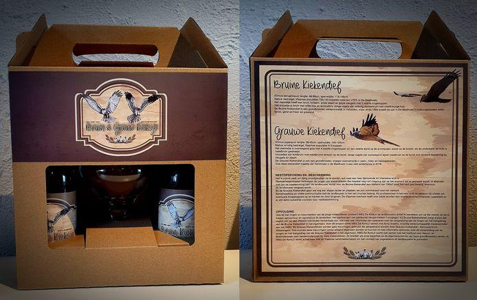 Op de verpakking van de nieuwe biersoort staat uitleg over de kiekendief.