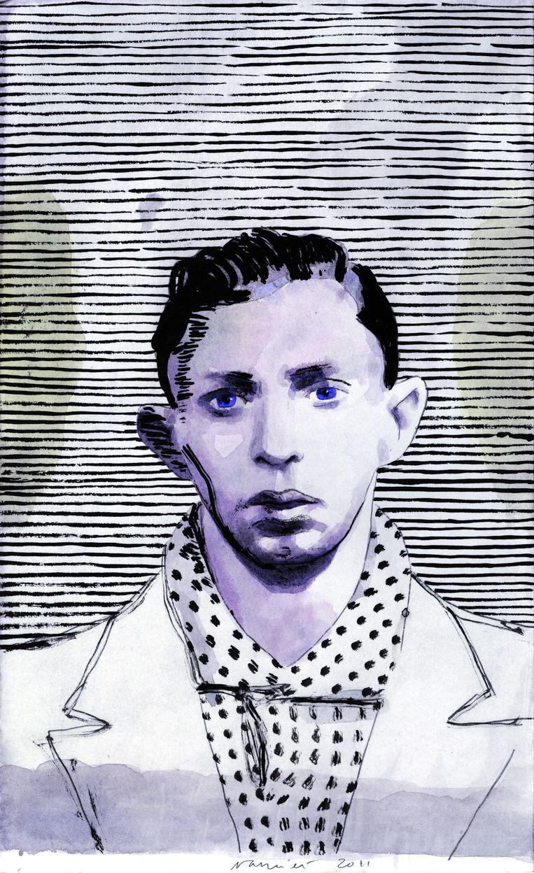 Moszek uit de serie Holocaustportretten, die onlangs met veel succes getoond werden in Moskou. Deze aquarel is ook een van de vijf die het British Museum onlangs aankocht. Beeld Roberto Polo Gallery, Brussels