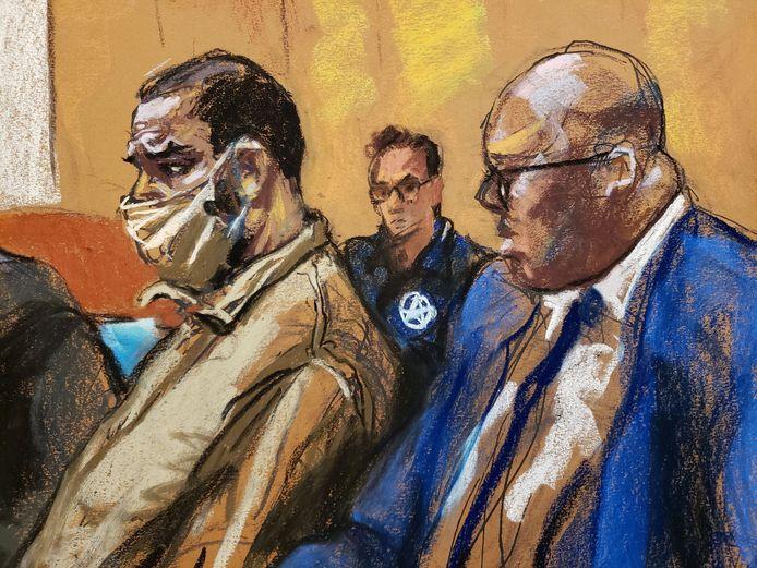R. Kelly avec son avocat Calvin Scholar lors d'une apparition au tribunal le 3 août.