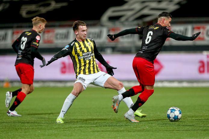 Patrick Vroegh tijdens het bekerduel van Vitesse met Excelsior.