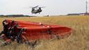 Een bambi-bucket ligt paraat voor directe inzet op vliegbasis Gilze-Rijen bij blussen grote natuurbranden.