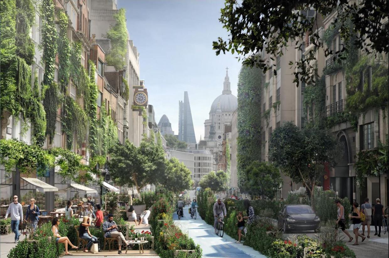 Een impressie van het 'Green Block', een schets van een groener Londen.