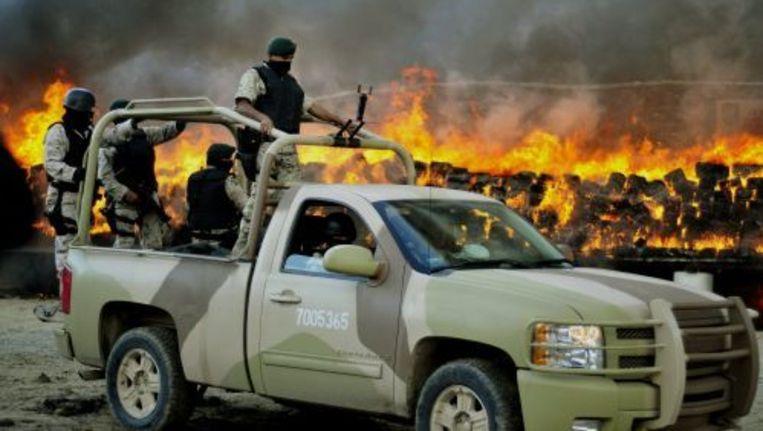 De politie moet erop toezien dat er geen drugsdealers de marihuana komen stelen voor het verbrand is. Foto ANP Beeld
