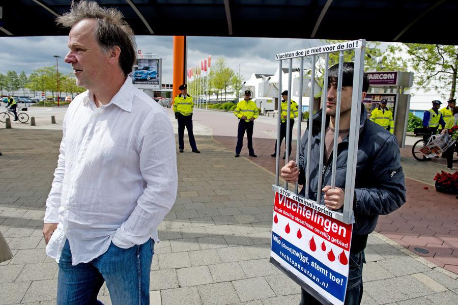 Partijvoorzitter Hans Spekman in mei vorig jaar bij een extra ledenraad van de PvdA in Utrecht.