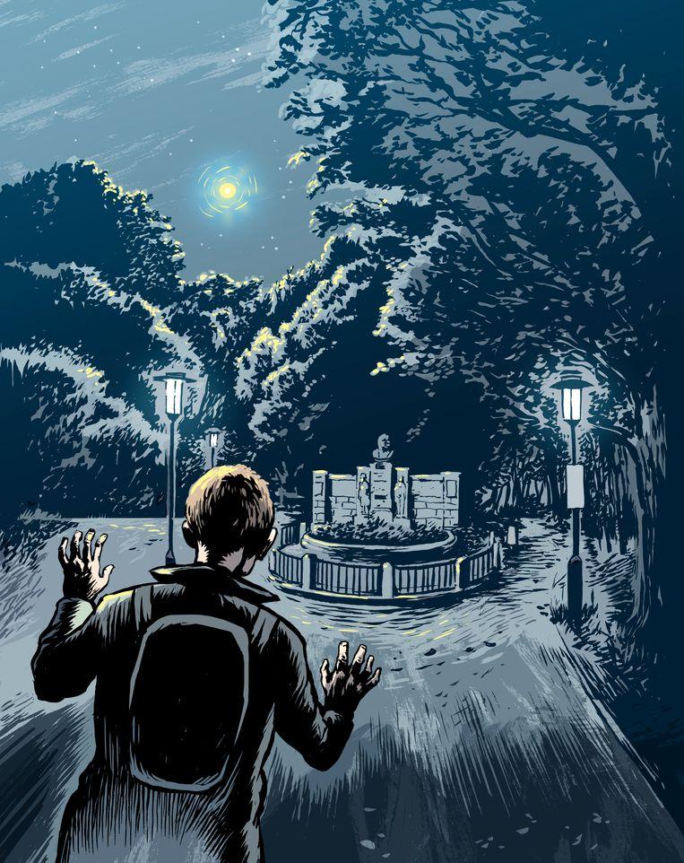 Stefan zag een klein geel balletje aan de lucht staan, en werd drie uur later wakker op een bankje. Beeld Erik Kriek